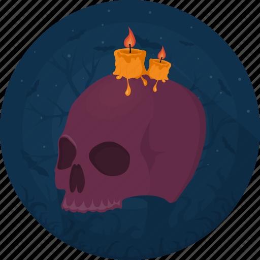 candle, celebration, darkness, death, evil, halloween, skull icon
