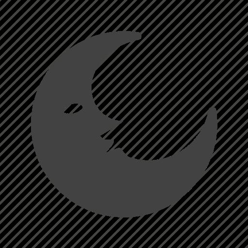 circle, half moon, midnight, moon, moonlight, semi circle, star icon