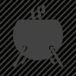 ancient, cauldron, cooking, fire, pot, slime, soup icon