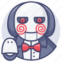 billy, halloween, jigsaw, puppet icon