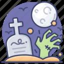 zombie, halloween, graveyard, hand