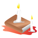 book, candle, halloween, scary icon
