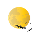 bat, halloween, moon, scary icon