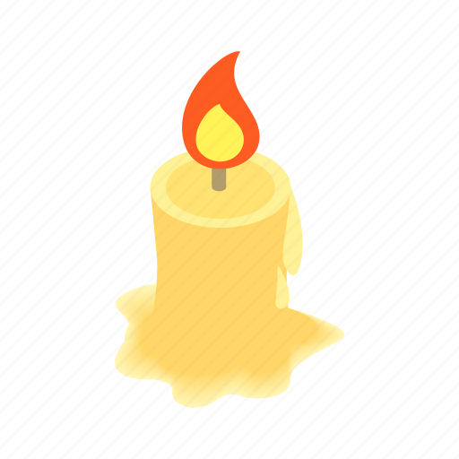 candle, decoration, fire, flame, isometric, light, wax icon