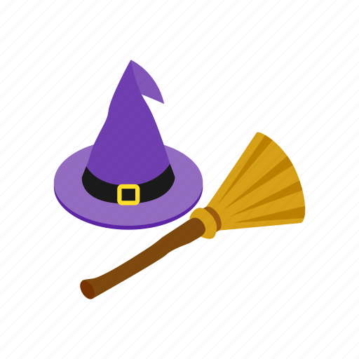 broom, costume, floor, halloween, hat, isometric, work icon