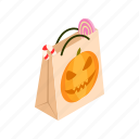 bag, gift, halloween, holiday, isometric, paper, pumpkin