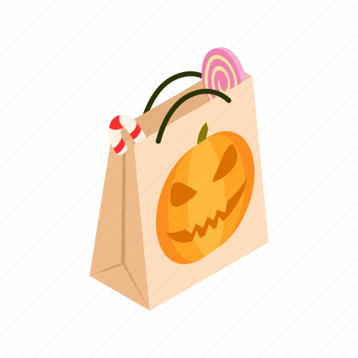 bag, gift, halloween, holiday, isometric, paper, pumpkin icon