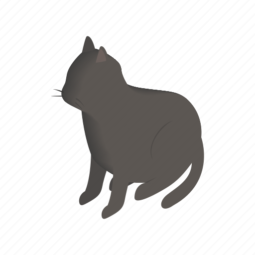 animal, cat, domestic, feline, isometric, mammal, pet icon