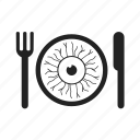 cooking, dine, dining, dinner, eat, eating, entertainment, eye, fork, halloween, knife icon