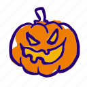 horror, creepy, pumpkin, face, spooky, scarry, halloween icon