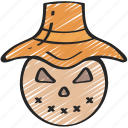 evil, farm, halloween, hay, scarecrow icon