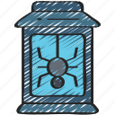 candle, evil, halloween, lantern, spider icon