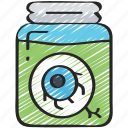 a, drink, evil, eye, in, jar, liquid icon