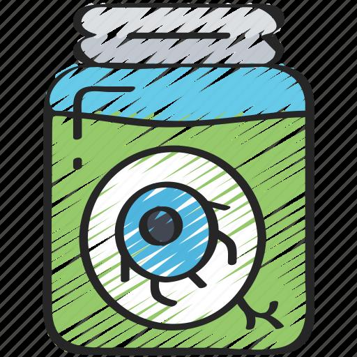 a, drink, evil, eye, in, jar, liquid icon