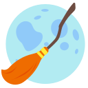 broom, halloween, holidays, moon icon