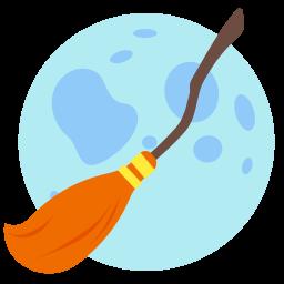 broom, halloween, holidays, moon icon