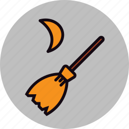 broom, fly, flying, halloween, moon, spell, witch icon