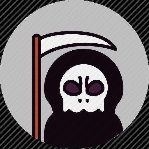 bad, dark, darkness, death, evil, scythe, skull icon