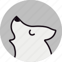 animal, halloween, howling, scary, white wolf, wolf icon