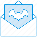 bat letter, event, halloween, holiday, horror, message, party icon icon