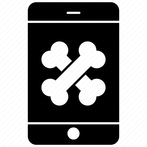 bones, mobile, mobile shape, smartphone icon