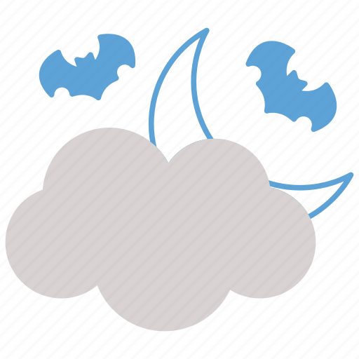 bat, clouds, fly, halloween, moon icon