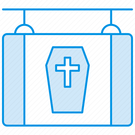 board, death, halloween, hanging, shop, sign icon