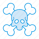 bones, dead, halloween, monster, skull, undead icon icon
