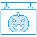 board, halloween, hanging, pumkin, shop, sign icon
