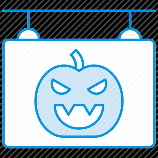 board, halloween, hanging, pumkin, shop, sign icon