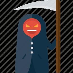 dead, death, grim reaper, halloween, reaper, scythe icon
