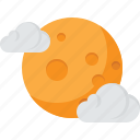 cloud, moon, night, sky, yellow icon