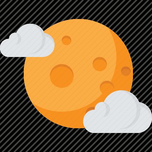 cloud, moon, night, sky, yellow icon