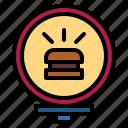 burger, hamburger, light, sign
