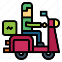 car, delivery, man, motorcycle icon