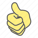 finger, gesture, hand, thumb, thumb up icon