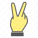 finger, gesture, hand, number, two icon