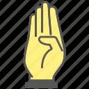 number, hand, four, swear, finger, gesture