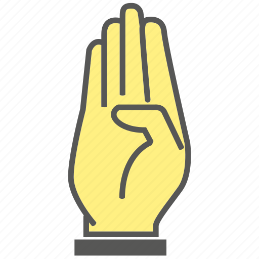 finger, four, gesture, hand, number, swear icon