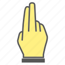 finger, gesture, hand, touch, two icon