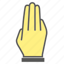 finger, gesture, hand, third, three icon