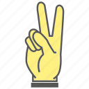 finger, gesture, hand, two icon