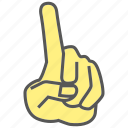 finger, first, gesture, hand, index finger, one, pointing icon