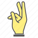 finger, gesture, hand, index finger, two icon