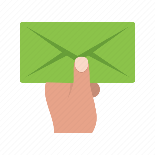 card, envelope, hand, holding, letter, mail, postman icon