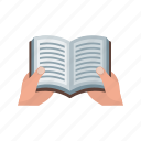 book, hand, holding, knowledge, paper, reading, sitting icon