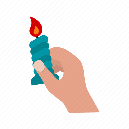 candle, dark, darkness, flame, hand, holding icon