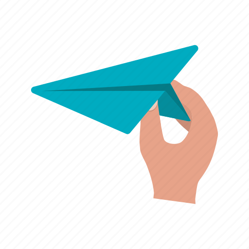 air, airplane, hand, kid, paper, plane, toy icon