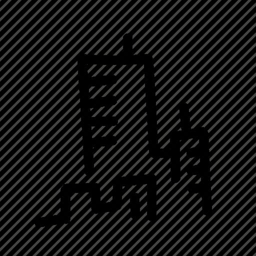 city, district, geo, handwritten, house, skyscraper, town icon