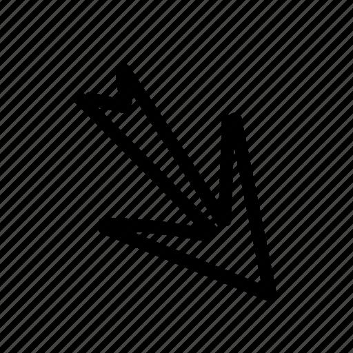 arrow, geo, handwritten, sketch icon